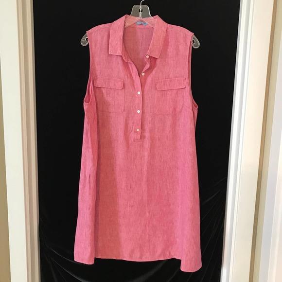 J. McLaughlin Linen Tunic Dress Pink XL w/ Pockets